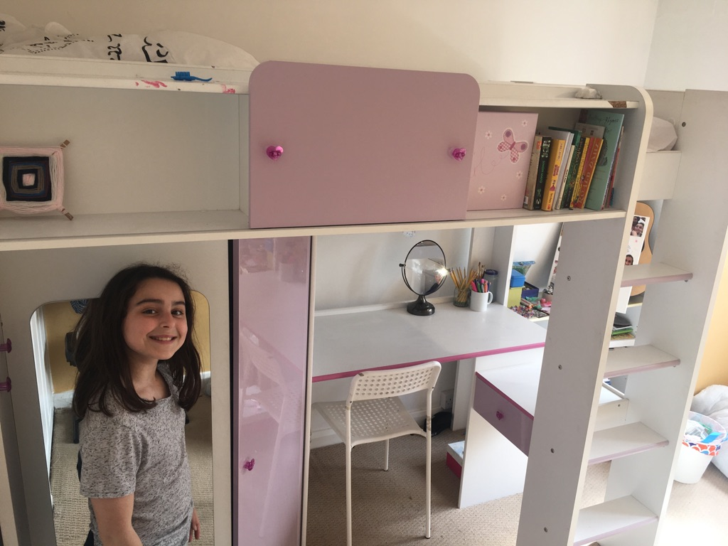 Loft Bed with wardrobe, desk, shelves, mirror