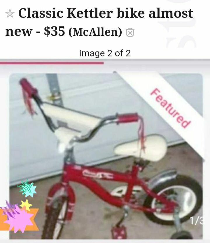 Classic Kettler toddler bike w training wheels