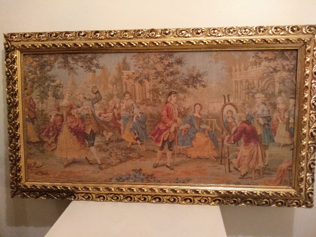Antique Tapestry Picture Gold Gilt Frame