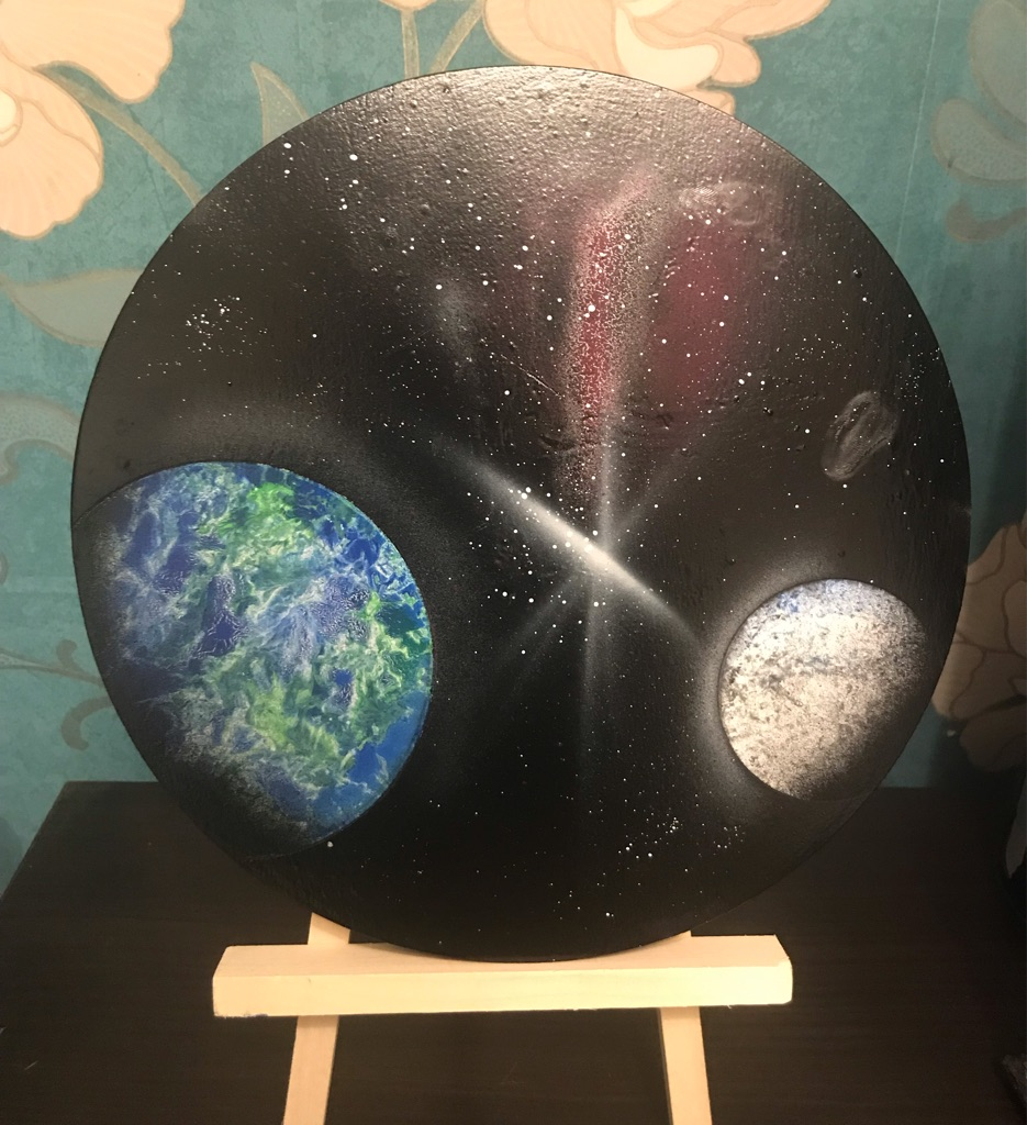 Spray painted space picture