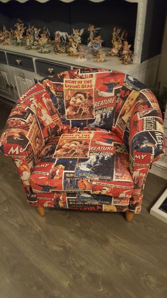 Scroll arm tub chair bespoke