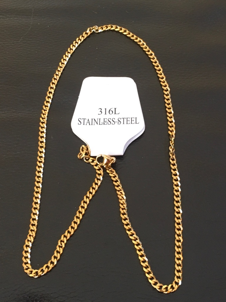 Jewellery 18k gold plated Miami Cuban link stainless steel chain new