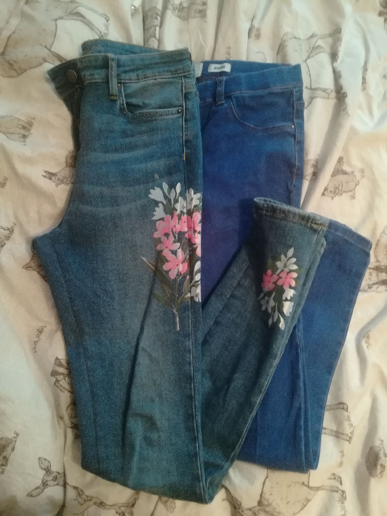 Jeans x3, harem trousers x4, Jack wills leggings x1