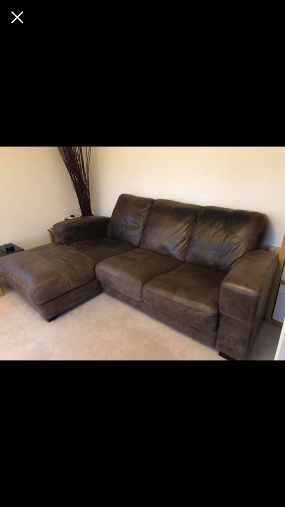 X2 leather sofas and footstool