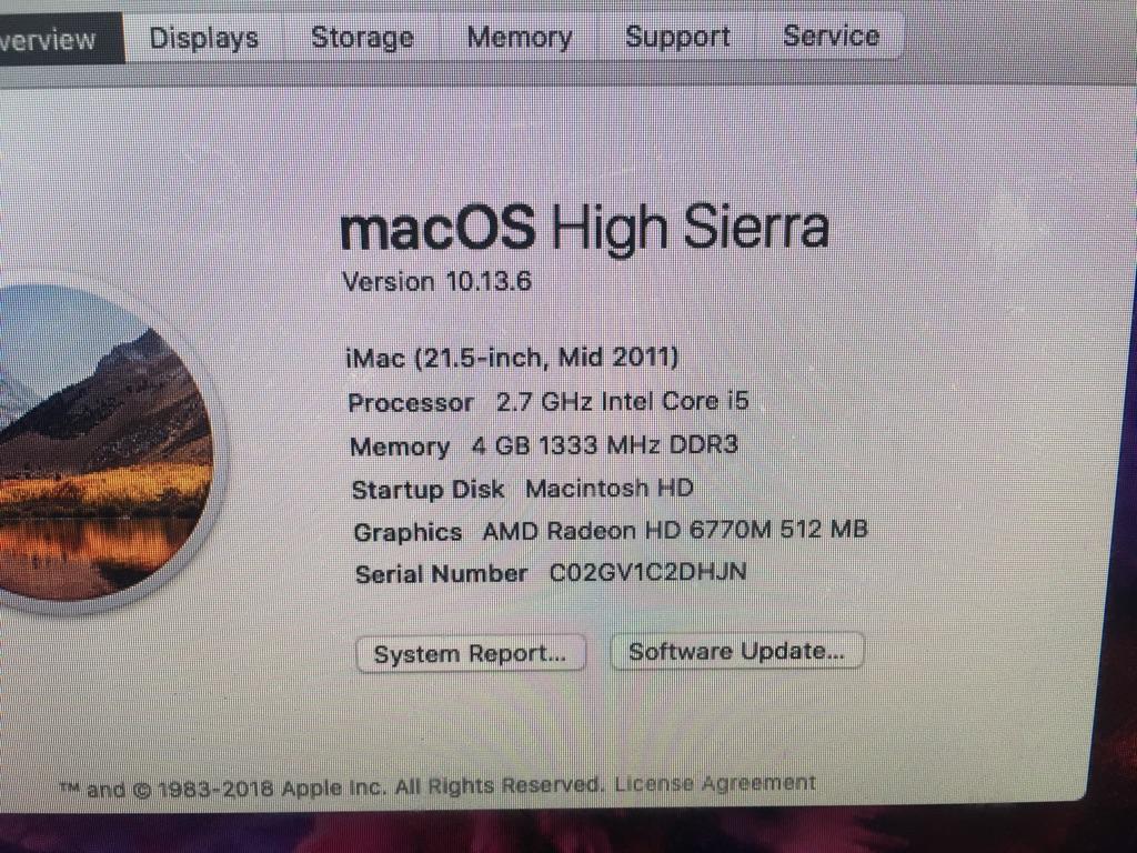iMac 21.5 inch 2011 model