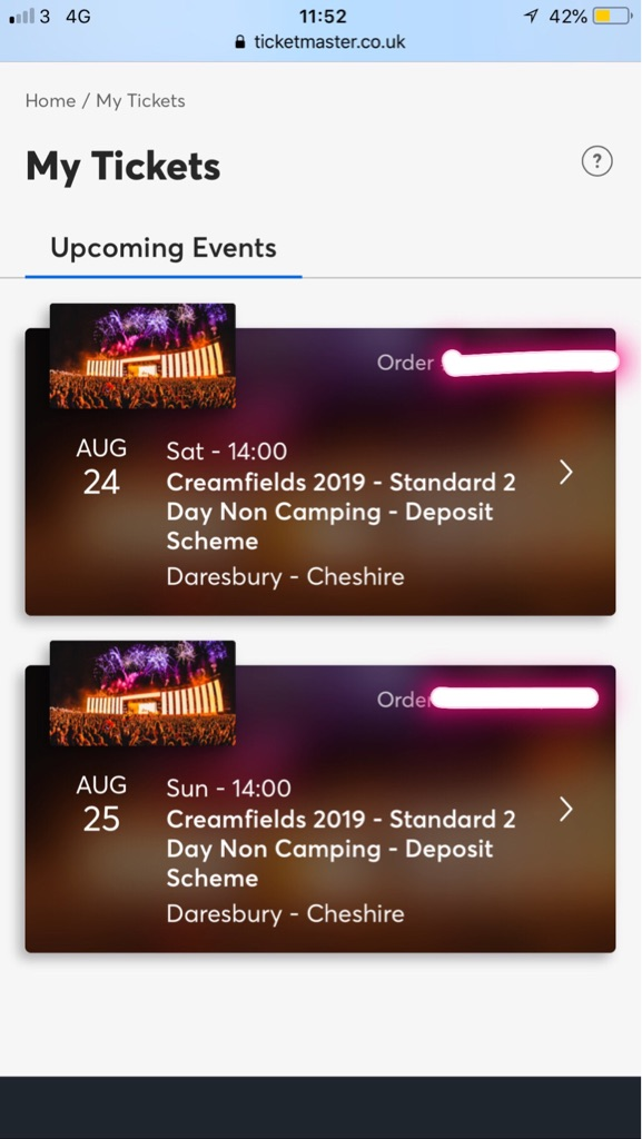 X2 CREAMFIELDS 2 DAY NON CAMPING TICKETS