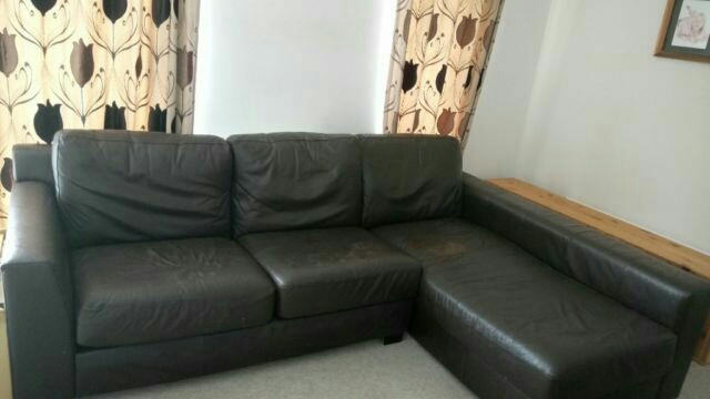 Large brown leather corner sofa