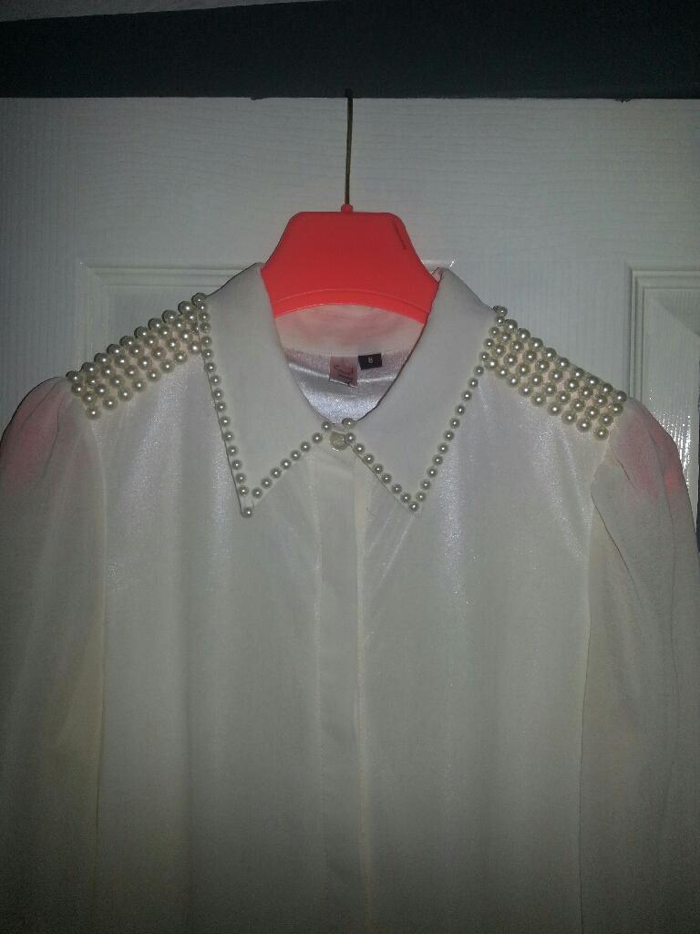 Ladies white beaded shirt