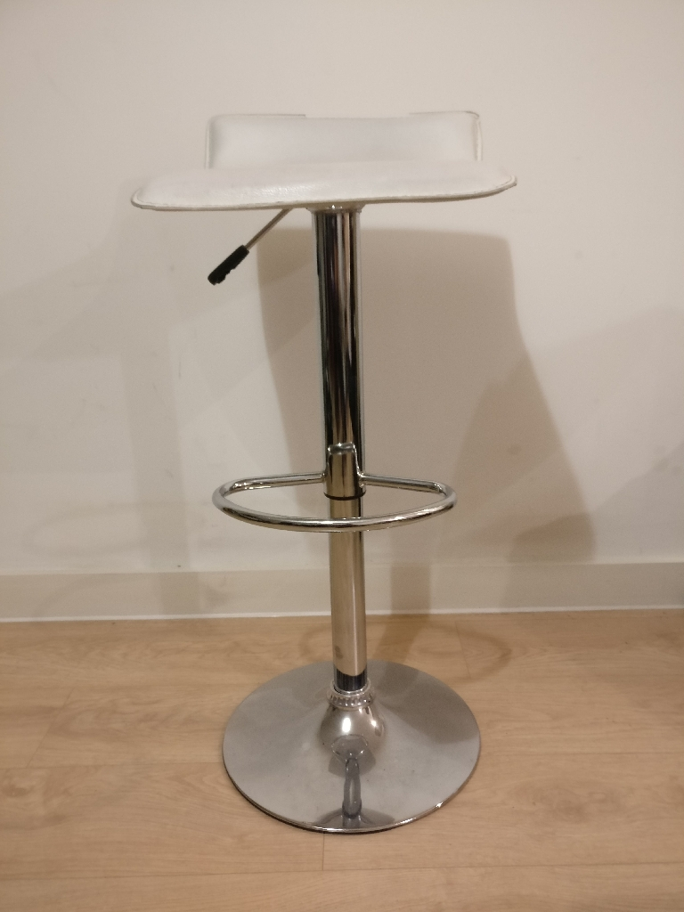 Faux white leather bar stool