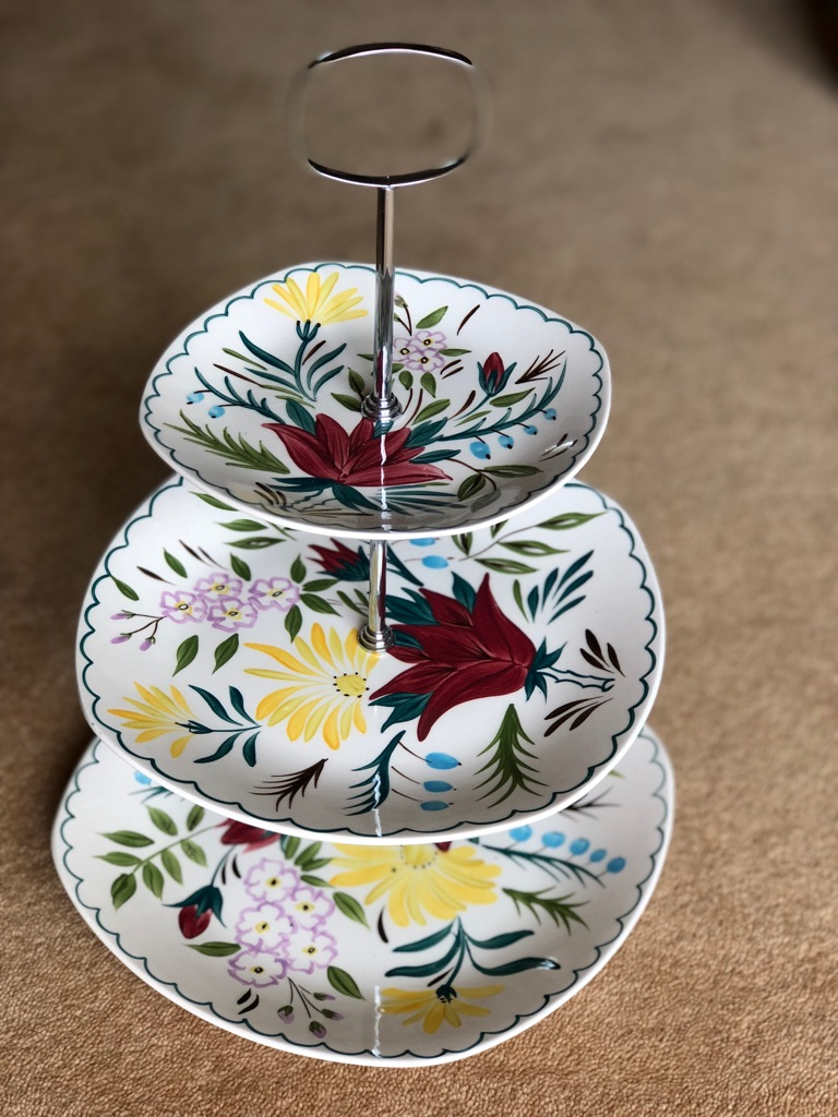 Handpainted three tier cake stand