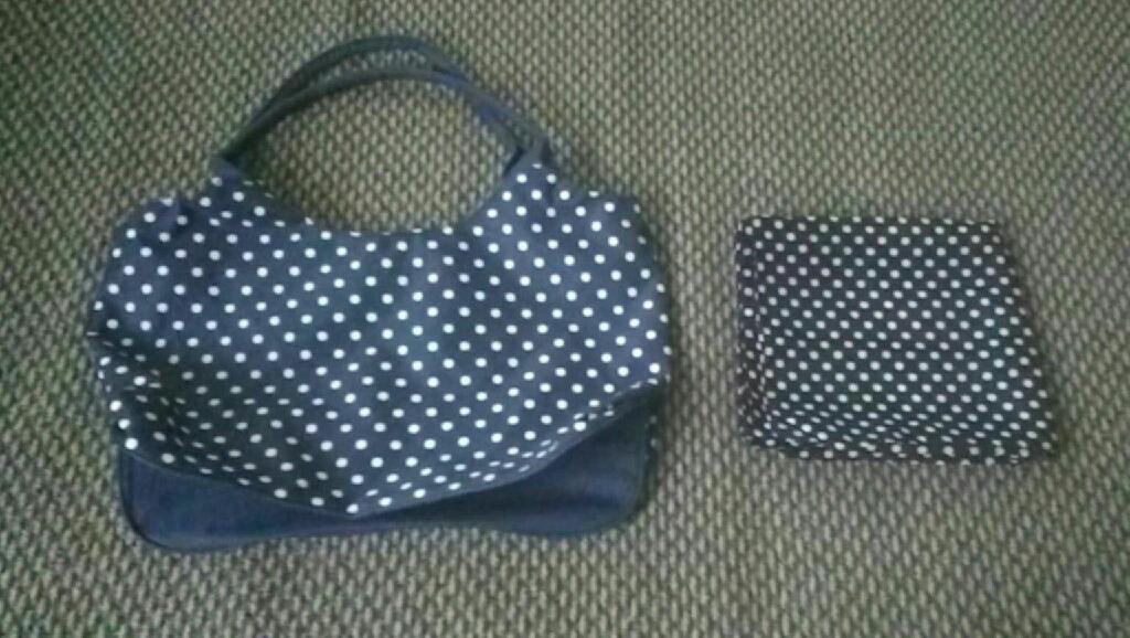 Navy polka dot bag + Scarf