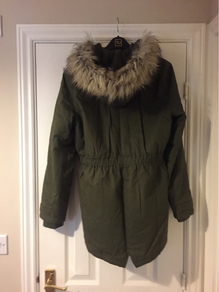 M&S Green Parka Style Girls Coat - age 13/14yrs