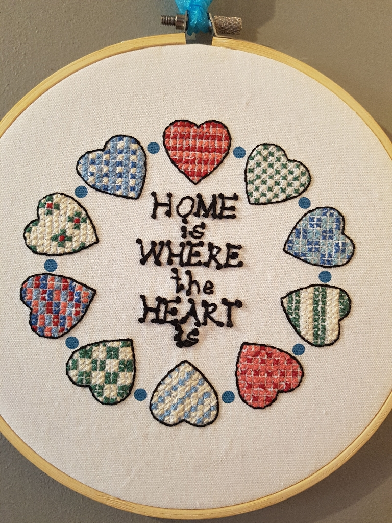 "New handmade crosstitch ""Home is where the heart is"""
