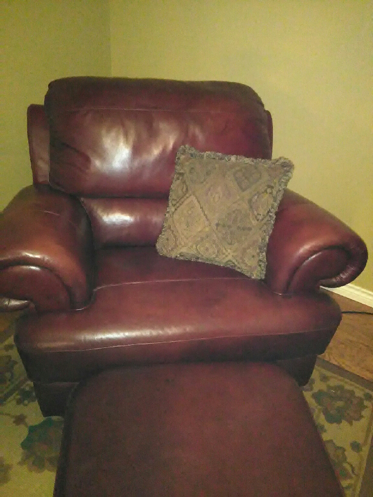 Rusty Red Leather Couch Chair Ottoman
