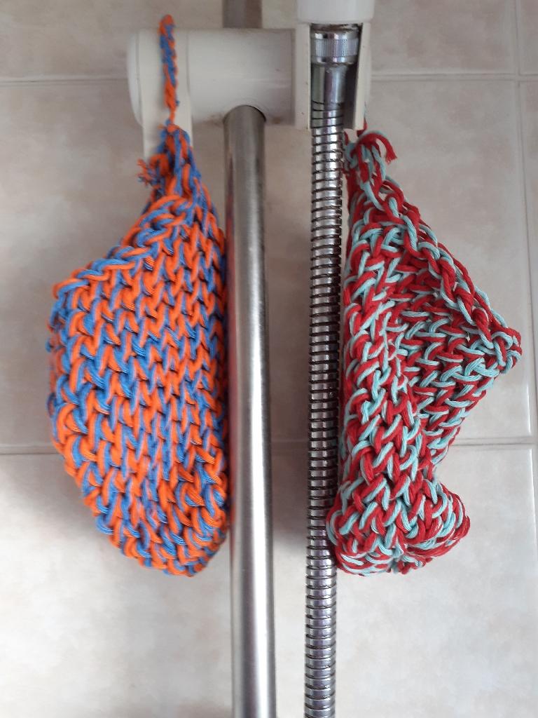 Handmade knitted cotton eco friendly soap sacks each