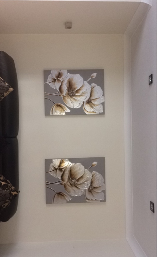 2 floral canvases