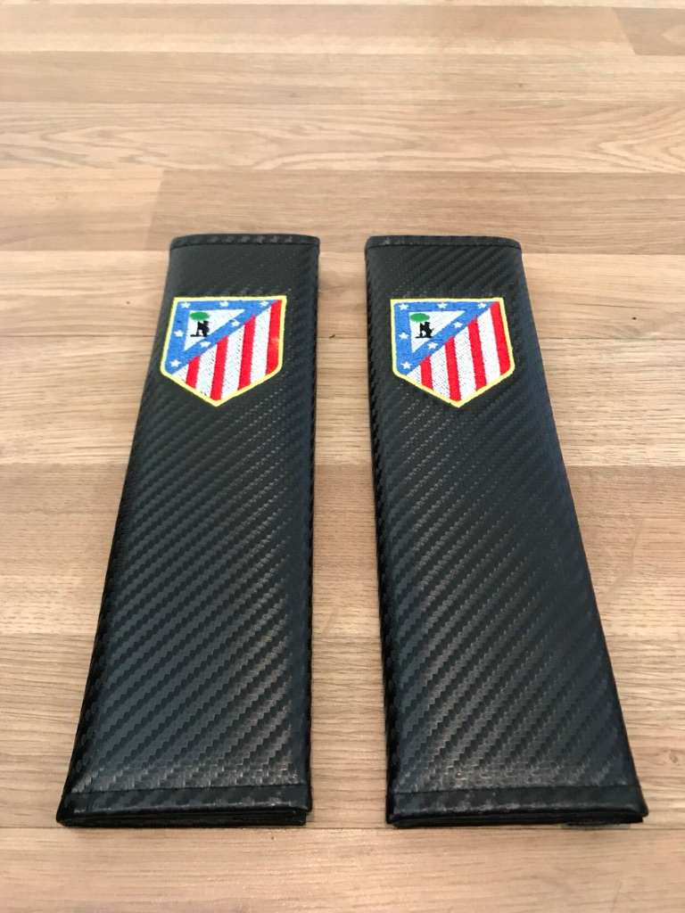 2X Seat Belt Pads Carbon Gift Spain Atlético Madrid Football Team Cup Stadium