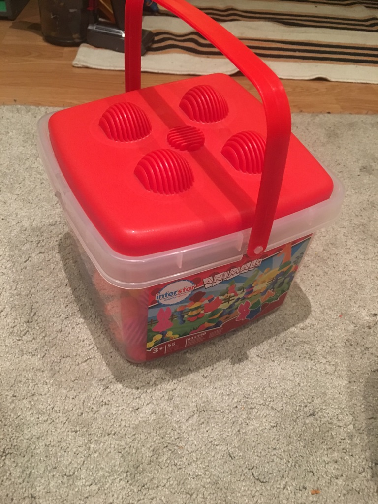 Construction bucket of toys for children