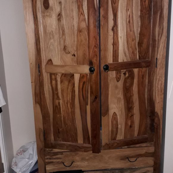 Mexican pine wardrobe with  two drawers