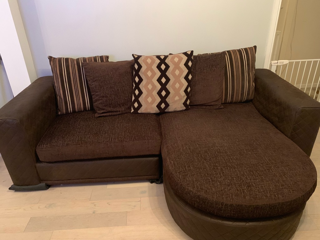 3 seater chaise lounge sofa and swivel cuddle chair