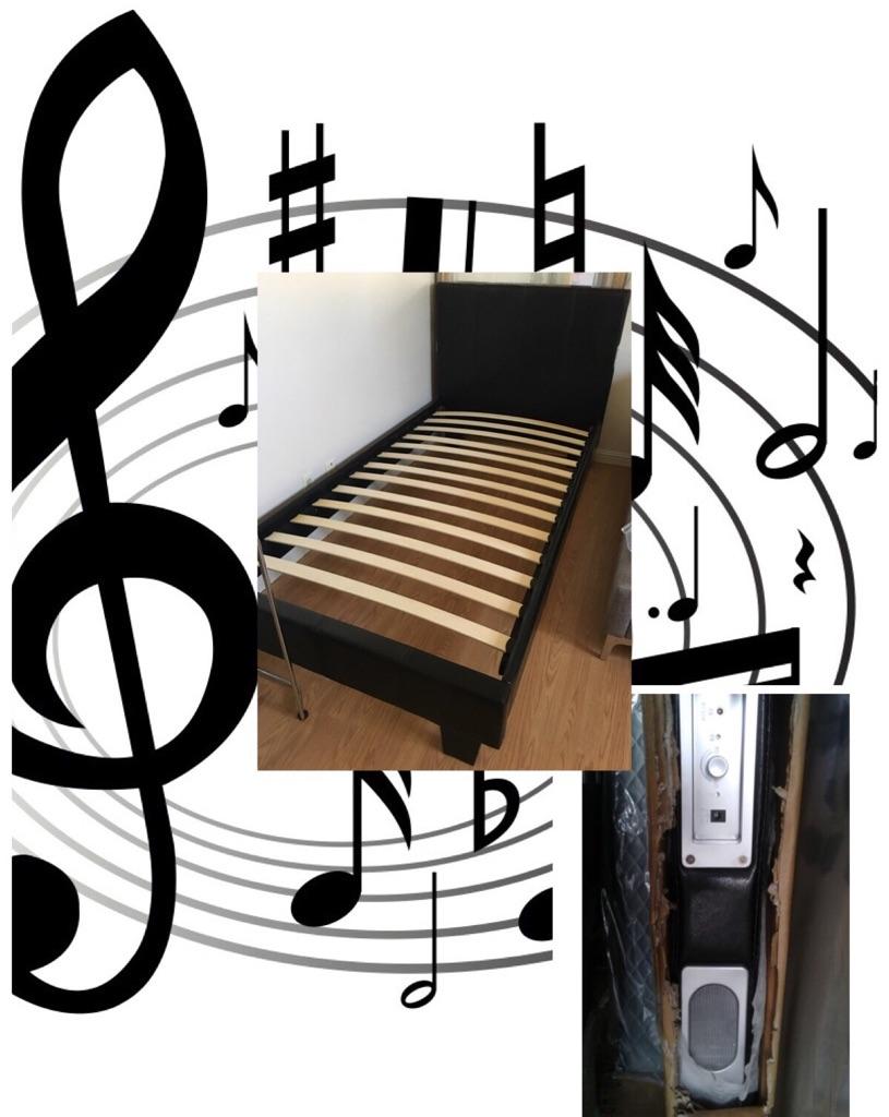New , Twin Vynal Platform Bed w / USB & speakers & mattress