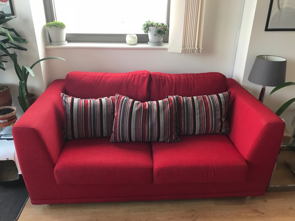 Red Sofabed with Matching Armchair and Footstool