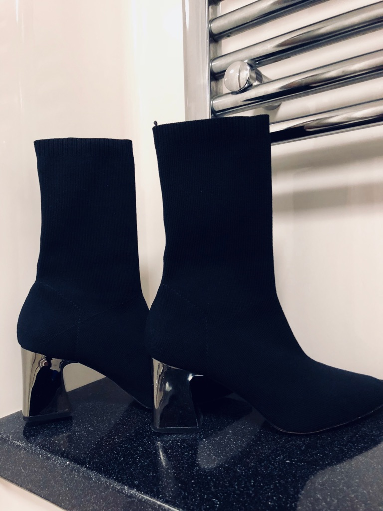 Zara Black Socks Ankle Boots