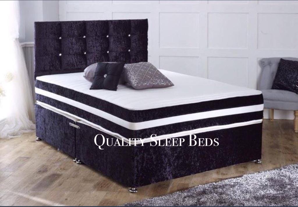 😍😍😍 LUXURIOUS CRUSHED VELVET DIVAN BED