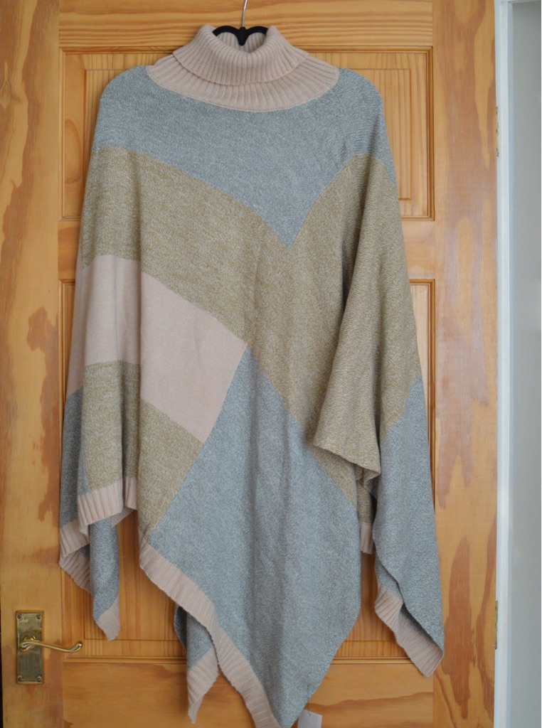Grey, pink and yellow poncho