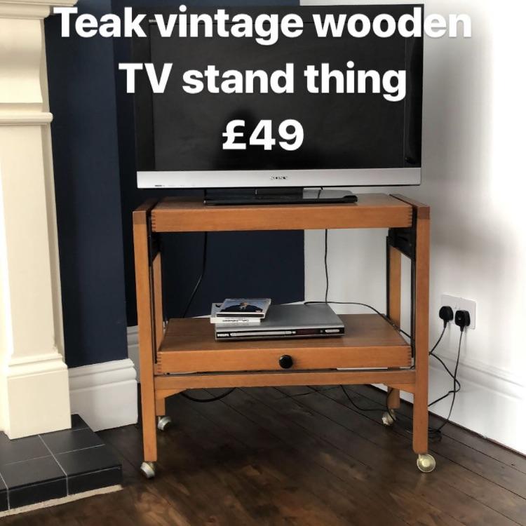 Teal vintage wooden tv stand