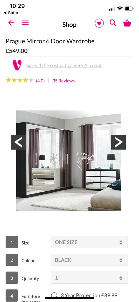Prague mirrored 6 door wardrobe