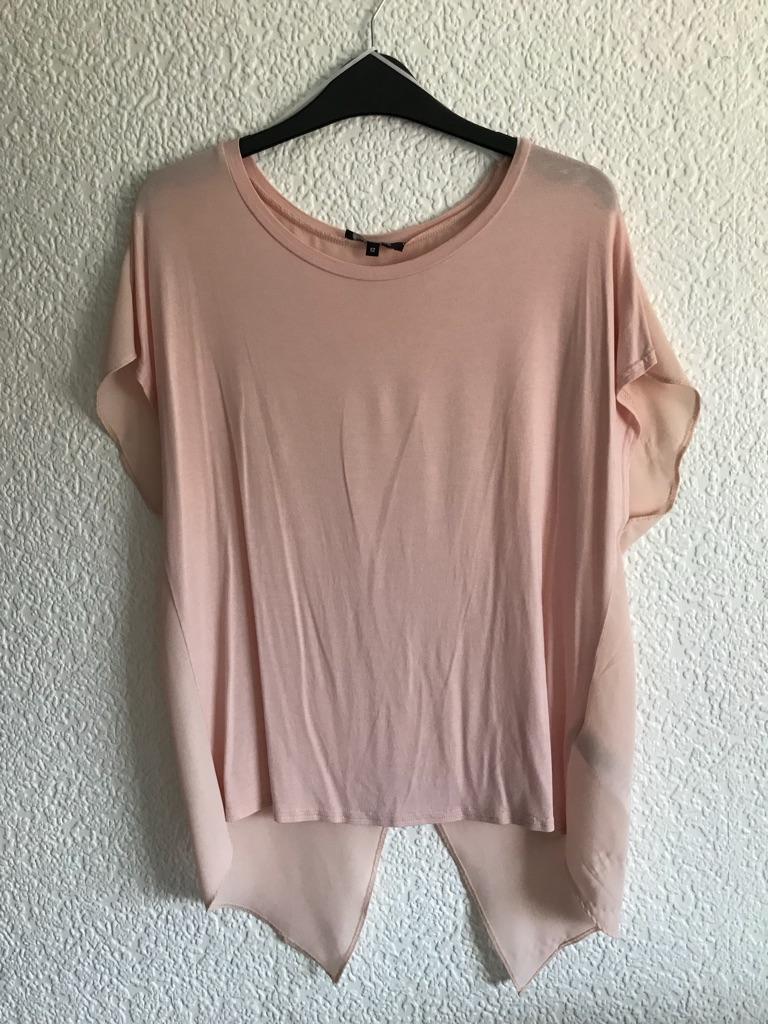 Pink wrap back blouse