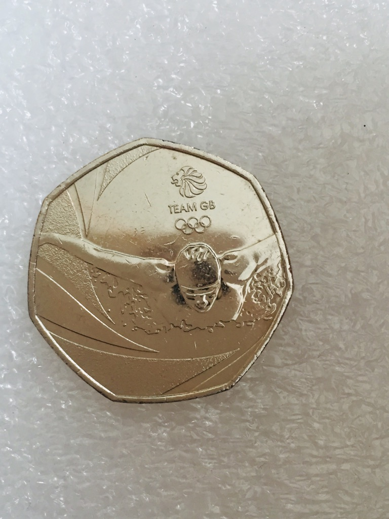 50p coin team gb swimmer 2016.