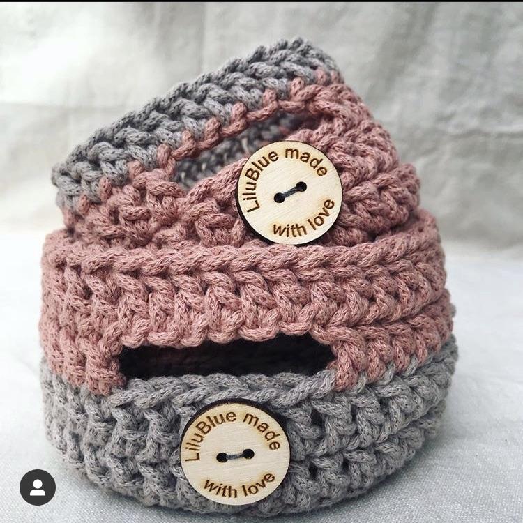 Crocheted basket set