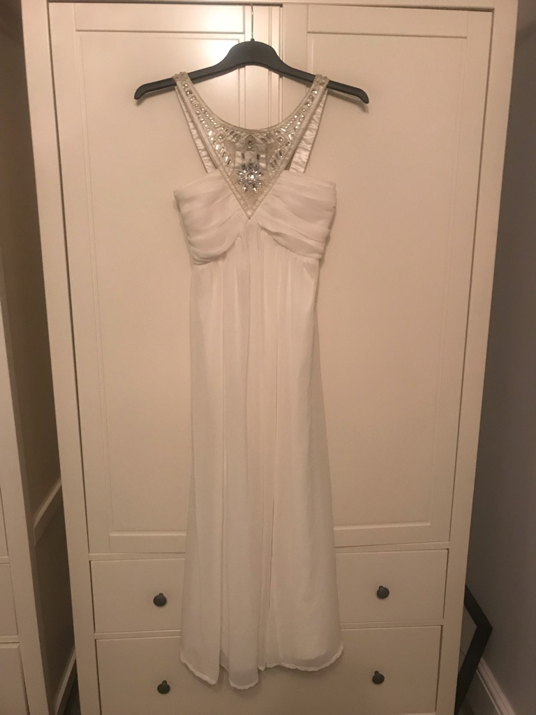 Ladies white prom/ bridesmaid/ evening gown dress size 10