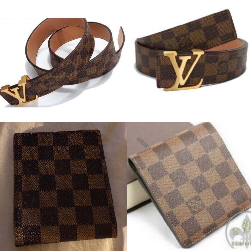 Wallet & belt set brown Damier
