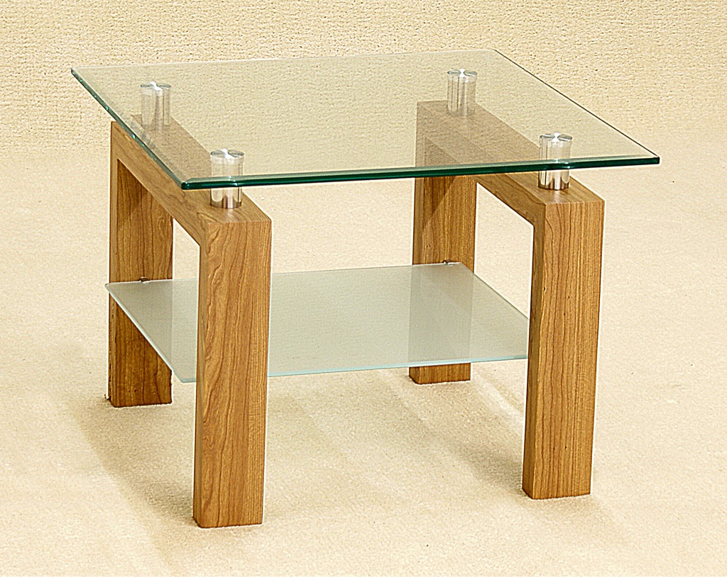 Clear Glass Lamp Table with Frosted Shelf