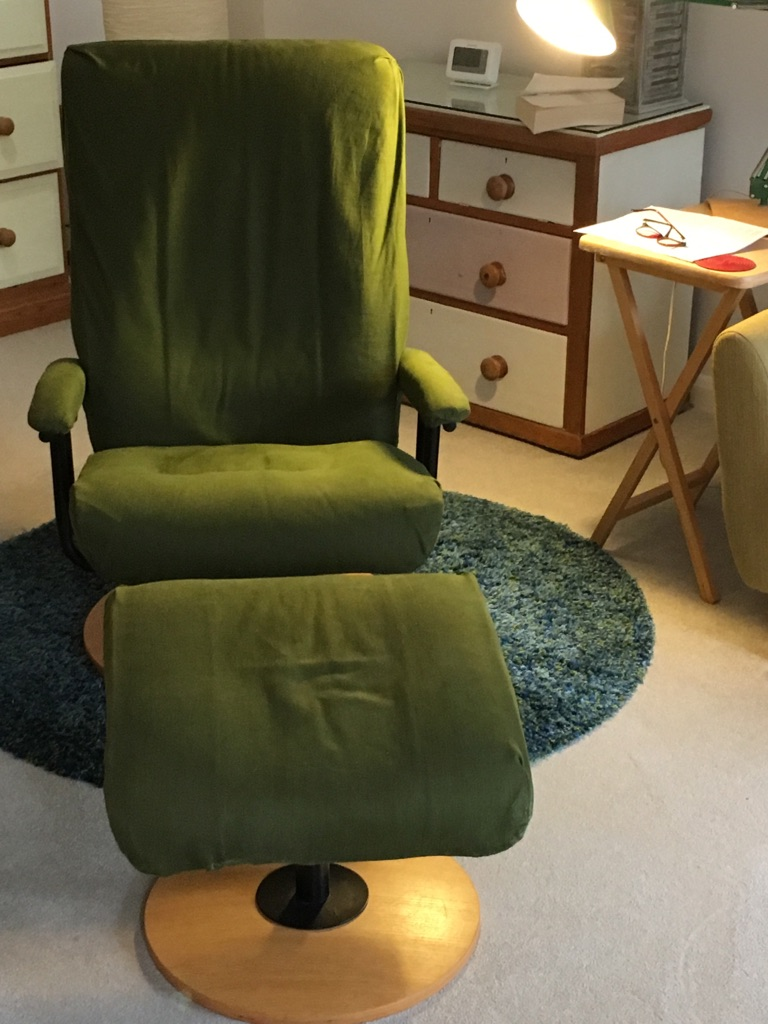 Swivel/recliner armchair and footstool