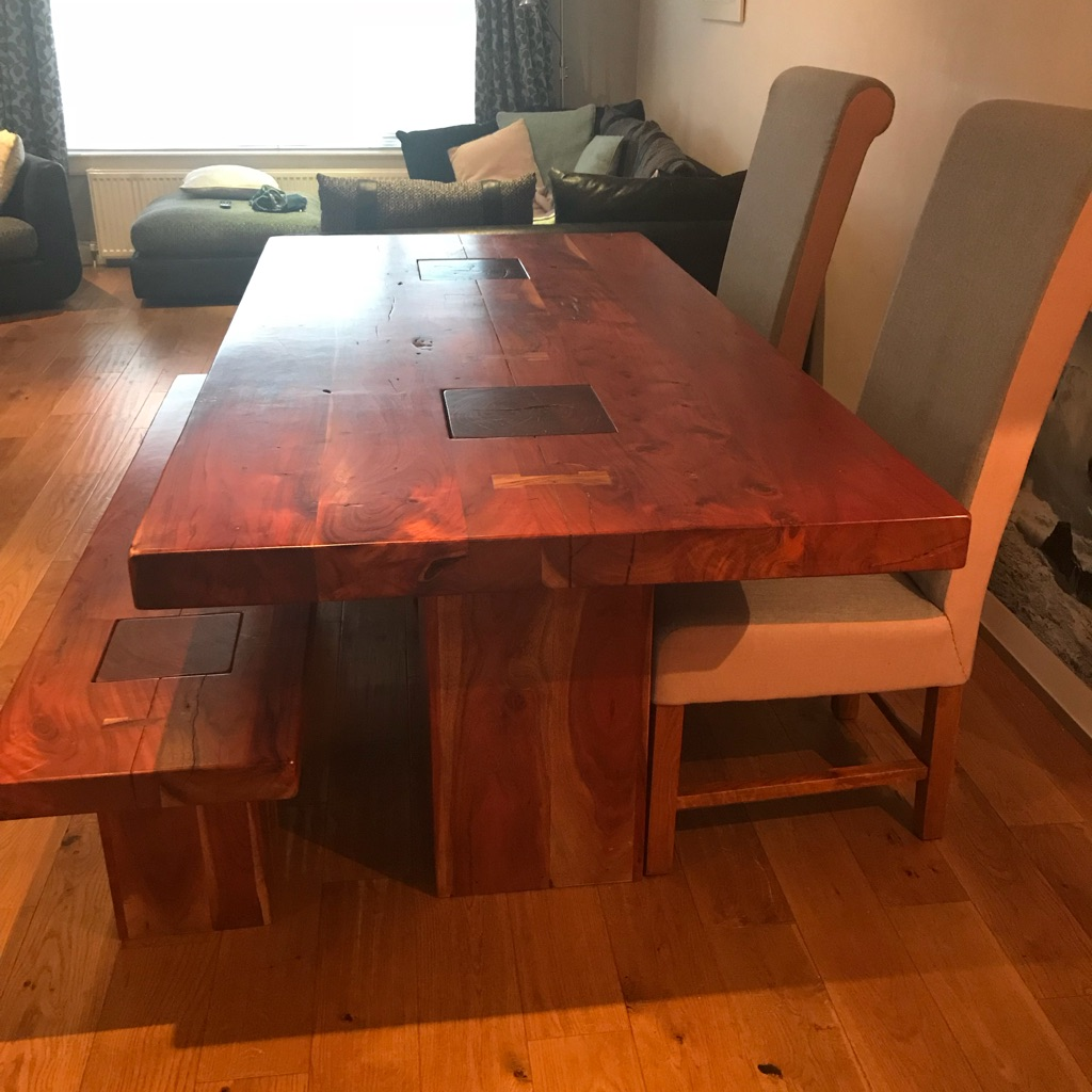 Dining table, bench and 2 chairs