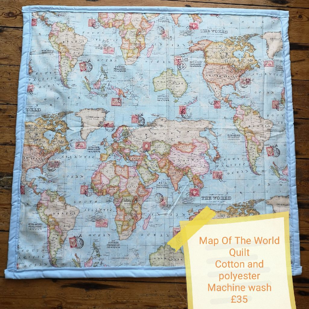 Map of the world quilt