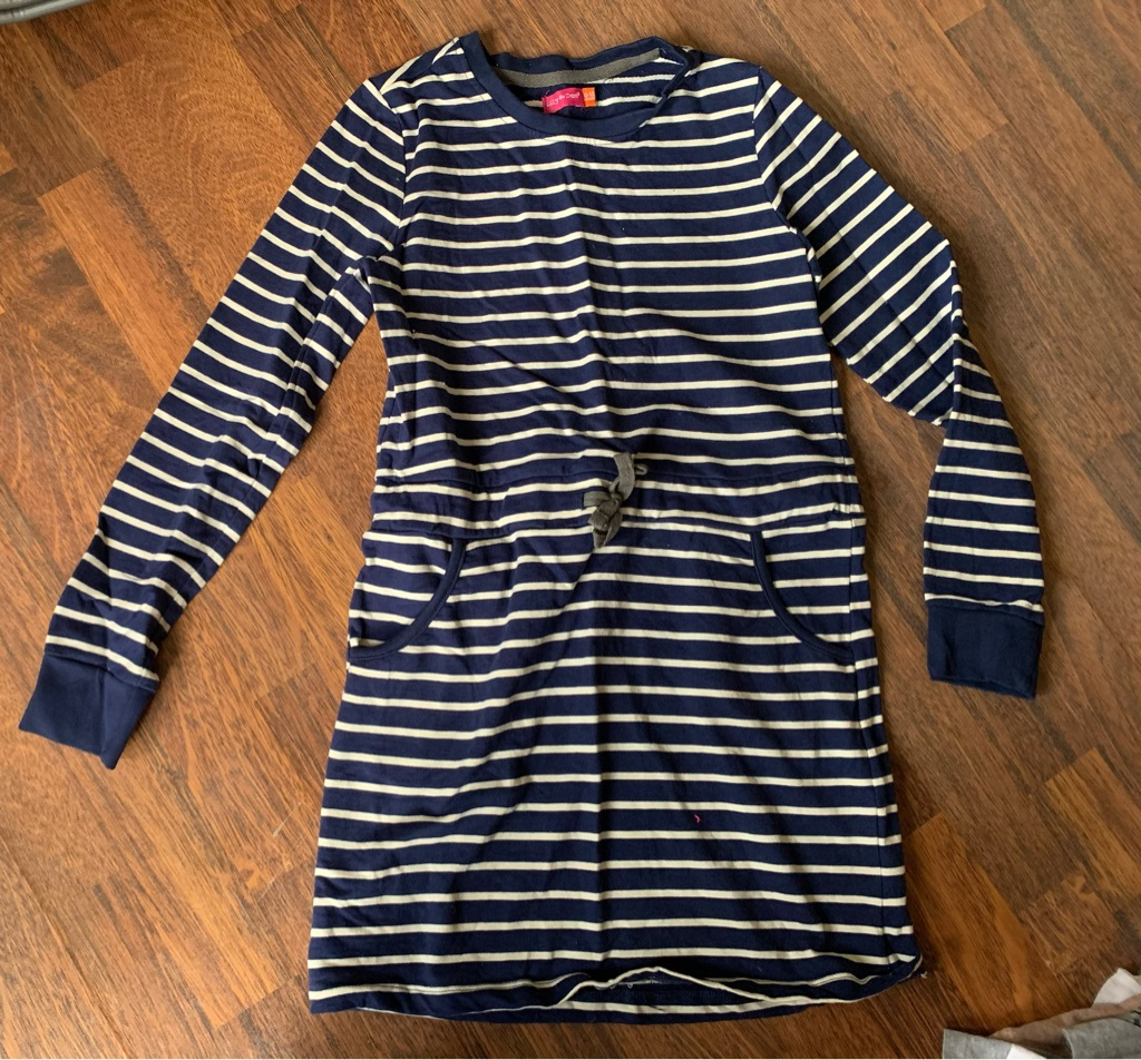 Navy striped dress 11-12 years