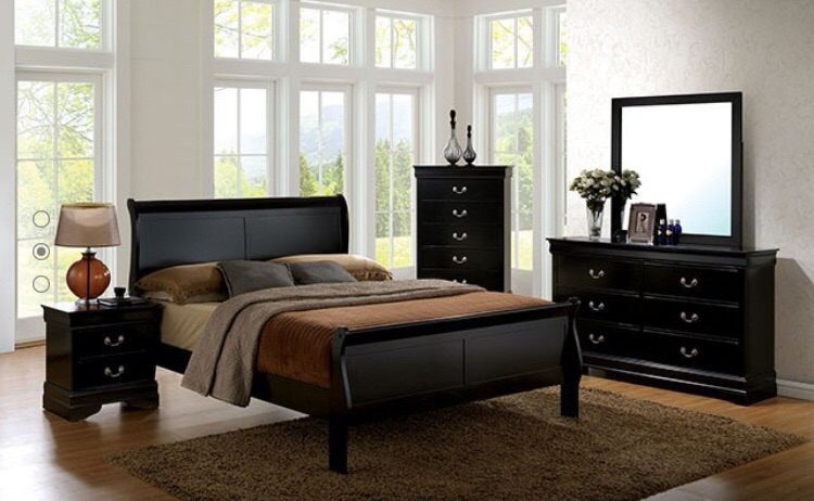 New inexpensive Queen wood black bedroom set