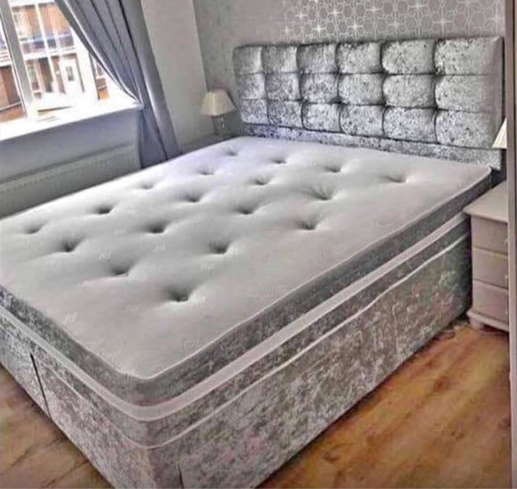 🔥 SALE 🔥 BRAND NEW DIVAN BED SET CRUSHED VELVET MATTRESS SILVER BLACK GREY SINGLE DOUBLE SUPERKING   ◽️ Bed + mattress from only £139 delivered  Your bed and mattress is manufactured in our state of the art facility. It will be supplied from our factory sealed up, direct to your door.   Available in grey, silver, black or champagne gold velvet crush to give your bedroom a great feature.  ◽️ Plea