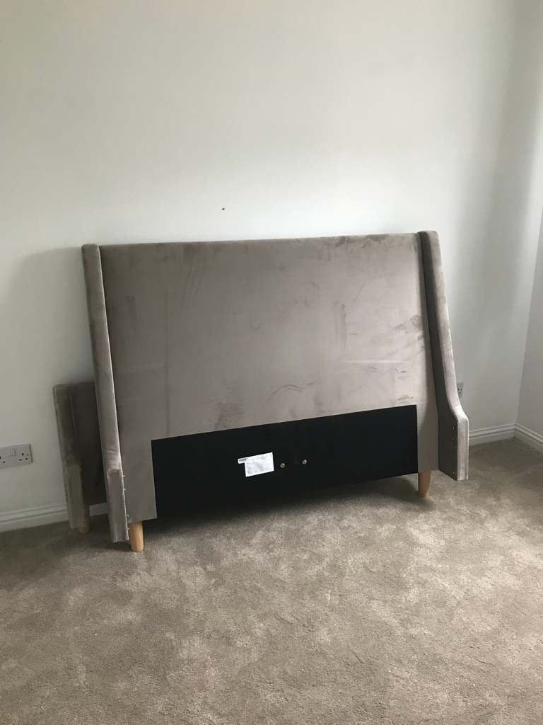 Fawn double next Greenwich bedstead brand new, assembled yesterday too big for bedroom together with brand new Simba mattress still in box