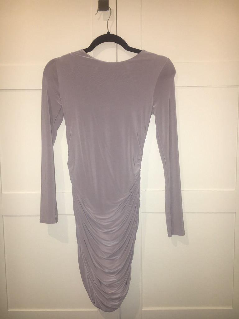 Ladies Grey Ruched Slinky Bodycon Dress