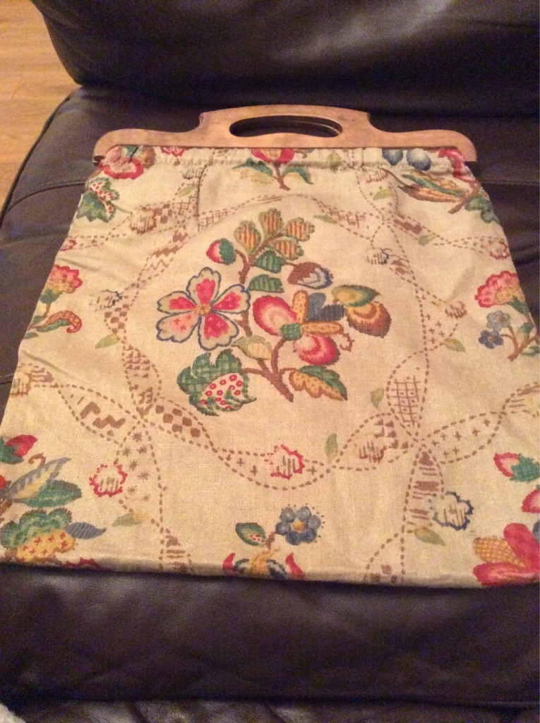Vintage craft/ knitting bag with wooden handles. Fully lined with an inside pocket.