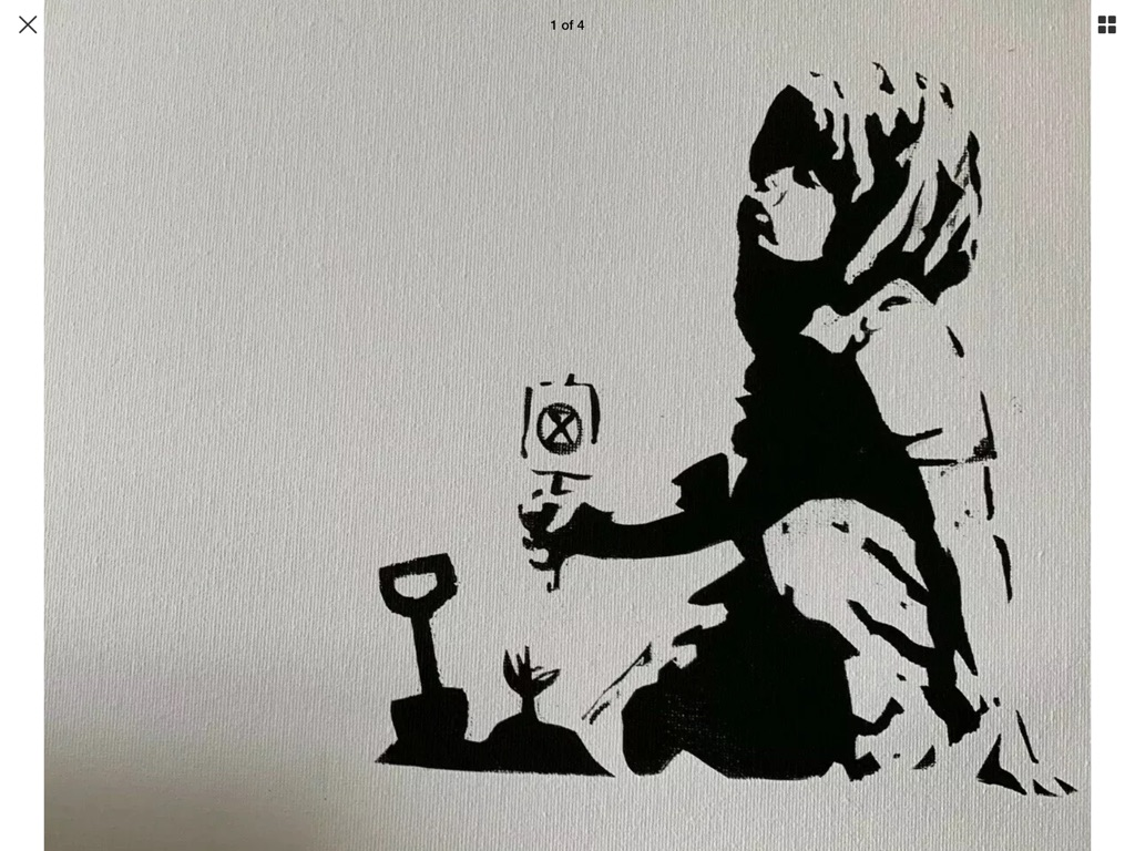 Banksy style art boarded canvas despair climate