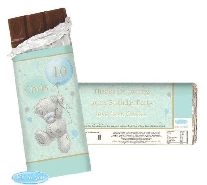 Personalised 'me to you-balloons' chocolate bar
