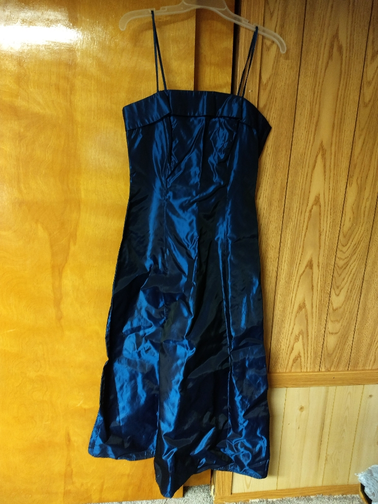 Long blue metallic dress