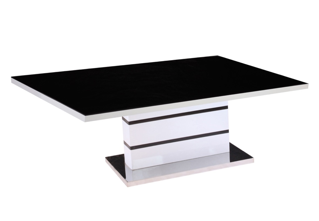 Black Glass Top,White High Gloss Coffee Table with Stainless Steel Base